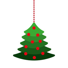 merry christmas pine tree hanging vector illustration design