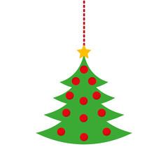 merry christmas pine tree hanging vector illustration design