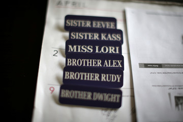 Name badges are seen in the office of Sisters of the Valley near Merced