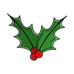 leafs christmas decoration icon vector illustration design