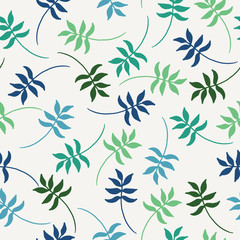 Tropical seamless vector pattern with colorful exotic leaves. Vector illustration.