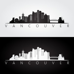 Vancouver skyline and landmarks silhouette