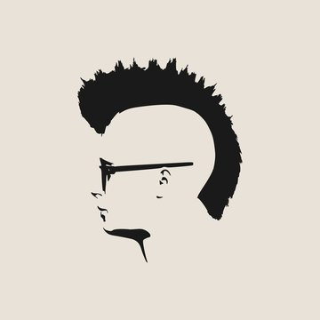 Man avatar profile view. Isolated male face silhouette or icon . Vector illustration. Mohawk hairstyle. Portrait with sunglasses