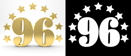 Golden number ninety six on white background with drop shadow and alpha channel , decorated with a circle of stars. 3D illustration