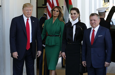 U.S.  President Donald Trump and first lady Melania Trump welcome Jordan's King Abdullah and Queen Rania at the White House in Washington
