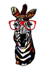 Printed roller blinds Art Studio Zebra with sunglasses