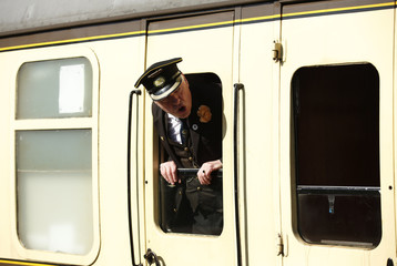 General view of a train conductor as the steam train arrives at Cheltenham Festival