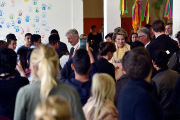 Belgium's King Philippe and Queen Mathilde visit the Fedasil facility in Dendermonde