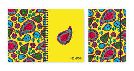 Cover design for notebooks or scrapbooks with beautiful ornamental paisley