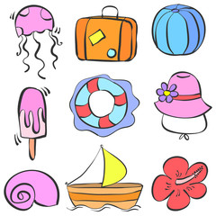 element summer holiday doodle style
