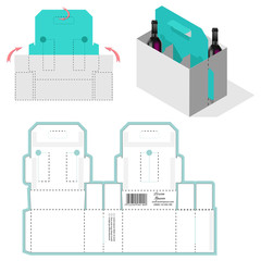 Transportable Compartmentalized Container Blueprint. Bottle Carrier Box, Die Cut Template, Carry On Protective design, die-stamping layout pattern, folding, ready handle.