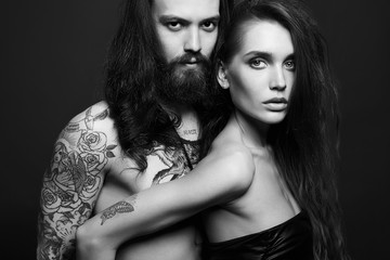 sexy beautiful couple with tattoo