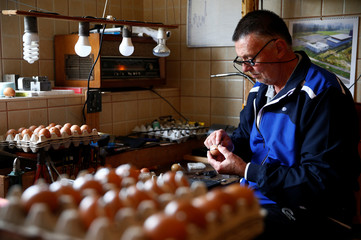 Stjepan Biletic calks a decorated egg with small horseshoes in his workshop in Kresevo