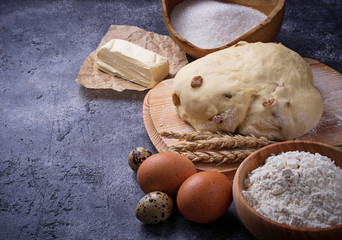 Dough and ingredients for baking