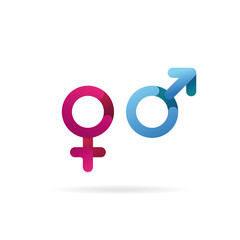 Gender symbol. Sex icons. Pink and blue isolated vector.
