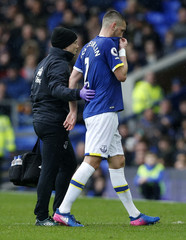 Everton's Morgan Schneiderlin leaves the pitch to receive medical treatment after sustaining a injury