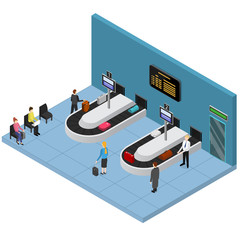 Airport Baggage Reclaim Interior Isometric View. Vector