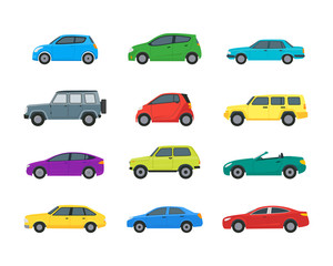 Photo sur Aluminium Cartoon voitures Cartoon Cars Color Icons Set. Vector