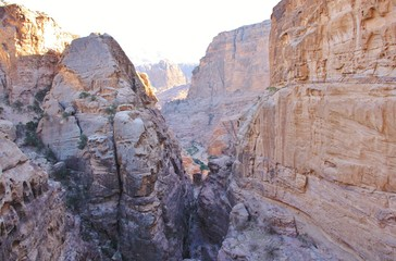 Mountain cleft in Petra, Jordan, Middle East