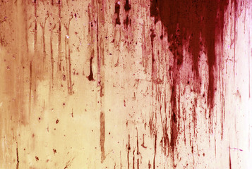 Halloween background. Blood on metal wall background