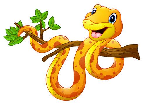 Cartoon snake on branch