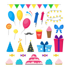 Cartoon Party Holiday Color Icons Set. Vector