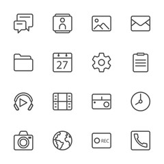 mobile line icon set 1