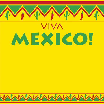 Mexican pattern Viva Mexico card in vector format.