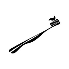Pictogram toothbrush icon. Black icon on white background.