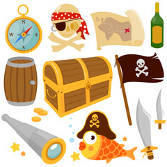 Vector collection of pirate themed illustrations: Treasure chest, pirate skull, fish, a pirate flag, a compass, spyglass, a barrel, bottle and pirate swords.