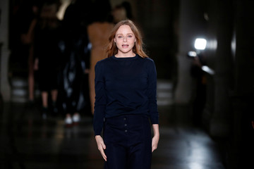 British designer Stella McCartney appears at the end of her Fall/Winter 2017-2018 women's ready-to-wear collection show during the Paris Fashion Week, in Paris