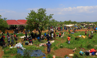 Displaced South Sudanese families gather in Lamwo after fleeing fighting in Pajok town across the border in northern Uganda