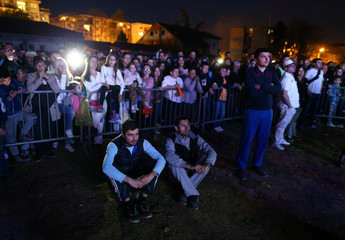 """Supporters of student and presidential candidate Luka Maksimovic, also known as """"Beli"""" attend his campaign rally in Mladenovac"""