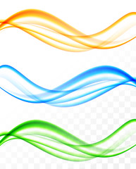 Abstract soft wavy light lines set