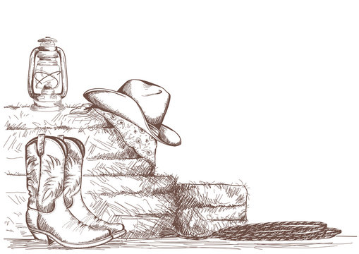 hand draw cowboy background with western boots and west hat in ranch.