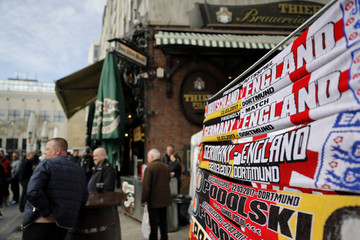 General view of scarves on sale in Dortmund before the match