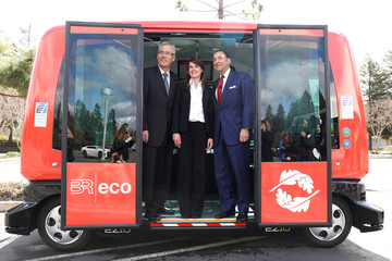 Iwasaki, executive director of the Contra Costa County Transportation District, Lheritier, spokeswoman for EasyMile and Mehran Sr., chairman and chief executive of Sunset Development Company, stand for a photo in San Ramon
