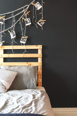 Black wall in bedroom