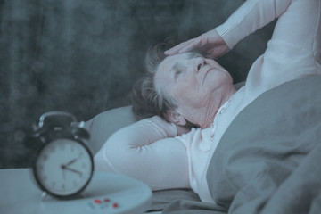 Senior woman having sleep disorder