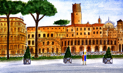 Italy. Rome. Old buildings on the avenue of Via dei Fori Imperiali, which was built in 1932 on the orders of Benito Mussolini. Watercolor drawing. City sketch.