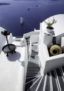 Whitewashed villa over Caldera,Oia, Santorini island, Greece