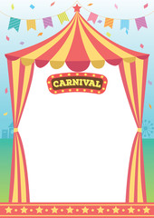 Illustration vector of circus tent of carnival decorated with bunting and sign design for template.