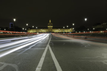 Front view of les invalides from Alexander III Bridge, Pont Alexandre III, Paris, France