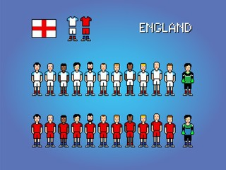 England football player uniform pixel art game illustration