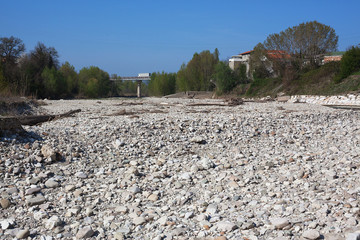 The channel of the dried-up river near the village.