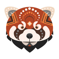 Red panda Head Logo. Fire fox Vector decorative Emblem.