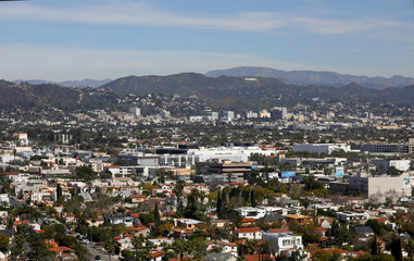 West Los Angeles and Hollywood are pictured on a clear day in Los Angeles,