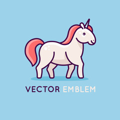 Vector logo design template with happy and friendly unicorn - emblem for kids store, shop or service