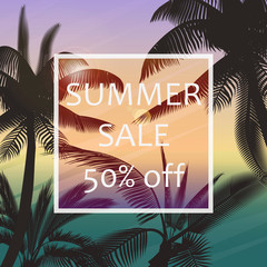 The summer sale poster in a frame on the background of fresh tropic palm leaves poster. Modern Exotic banner, poster, flyer, card, postcard, cover, brochure.