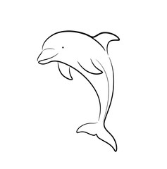 Dolphin Line Art Doodle, a hand drawn vector cartoon illustration of a cute dolphin.